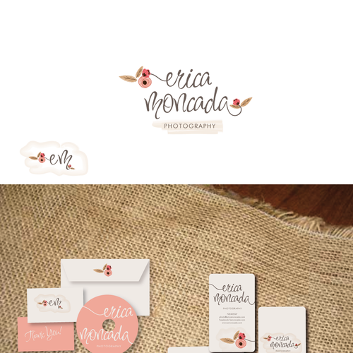 logo and business card for Erica Moncada photographer