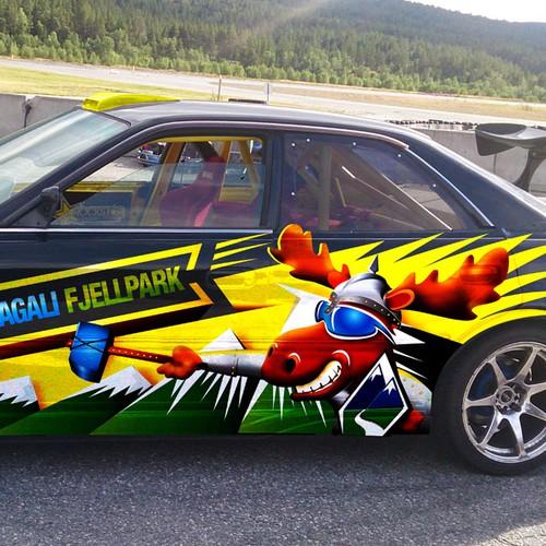 Drifting car sticker for Dagali Fjellpark