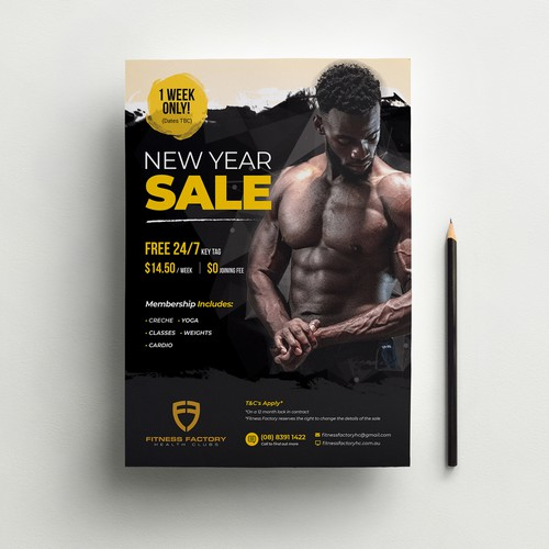 Fitness New Year Sale Poster Design
