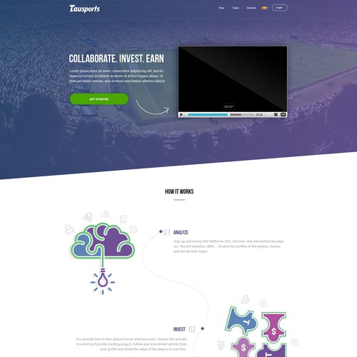 Landing Page concept for a sports related start up