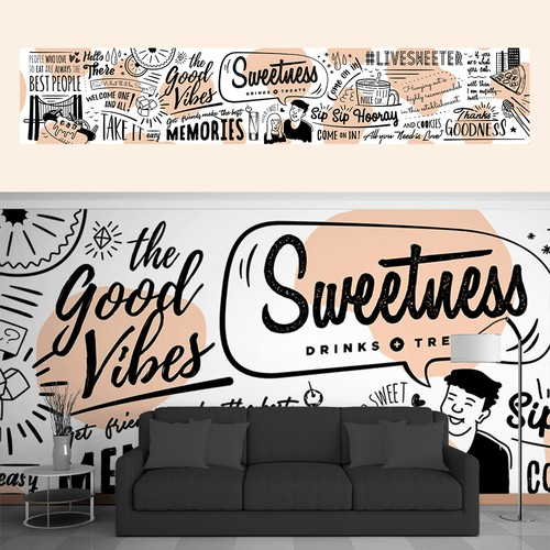 Typography Wall Mural Design For Modern Drink + Treat Shop!