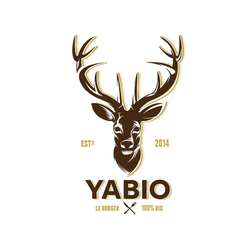 A clean, and Modern Deer Logo with a Little touch of Retro-Vintage for  Yabio Burgers