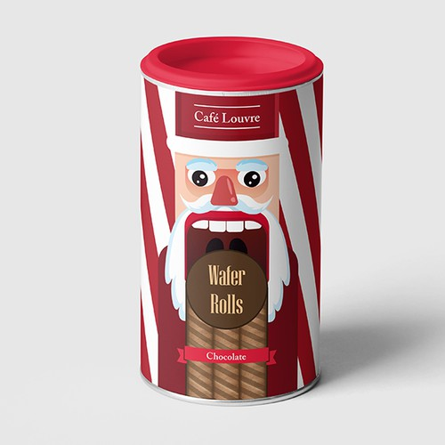 Holiday Tubes wafers rolls Packaging Design for Cafe Louvre