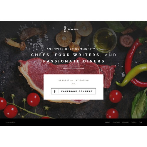 Create the splash page for an invite-only food review site