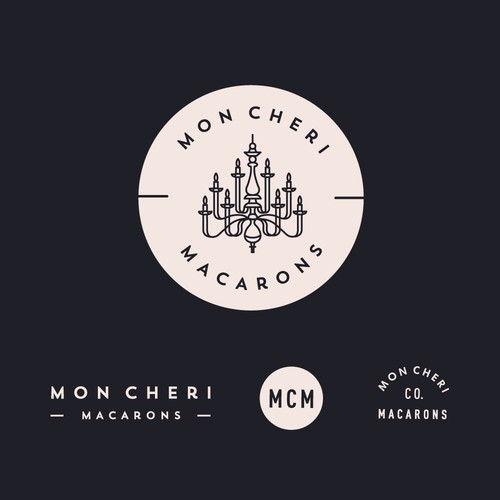Logo for a macaron shop filled with Chandeliers