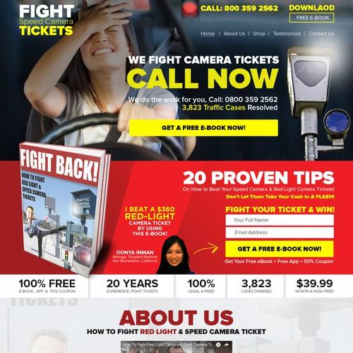 Landing page design for Fightspeedcameratickets.com