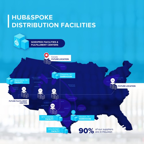 Infographic map showing the company's distribution facilities around the US
