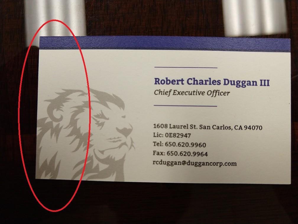 Buisness Card address change