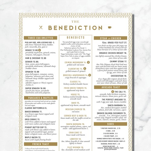 High End Beautiful brunch menu