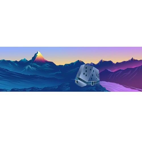 Low Poly Illustration Monte Rosa Hut and The Matterhorn