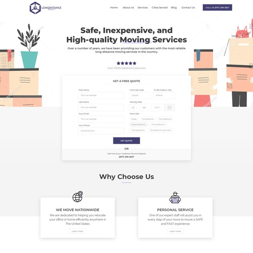 Redesign of the Long Distance Movers' homepage