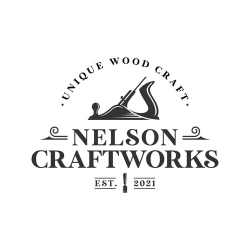 woodworking logo for a woman-owned handcrafted woodworking business