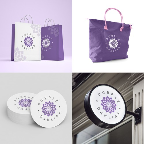 Logo & brand identity pack design for Purple Dahlias