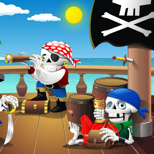 Treasure Cove: Flash Game Pirate Ship Scene