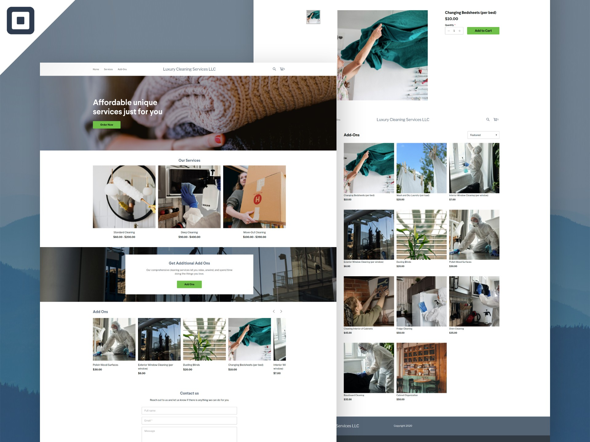 Luxury Cleaning services LLC need web page