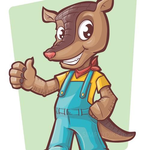 Anthropomorphic armadillo mascot