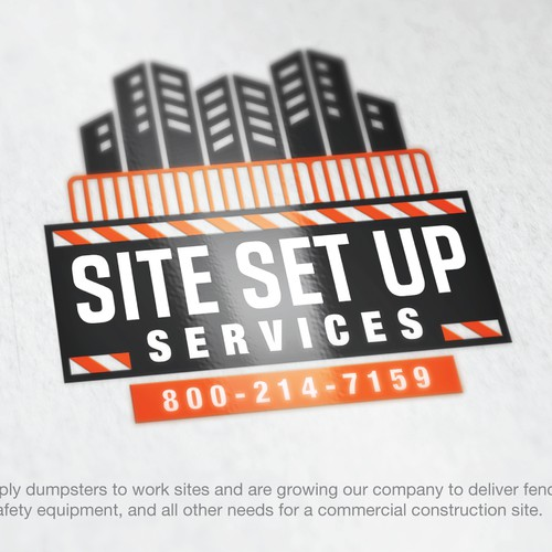 Bold logo for a company that provides dumpsters, barricades and safety equipment for construction sites