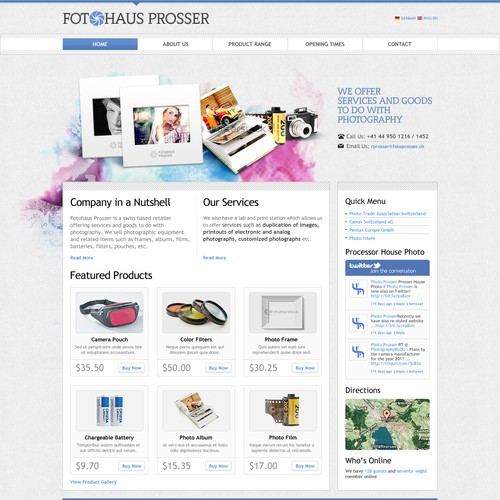 Help Fotohaus Prosser with a new website design