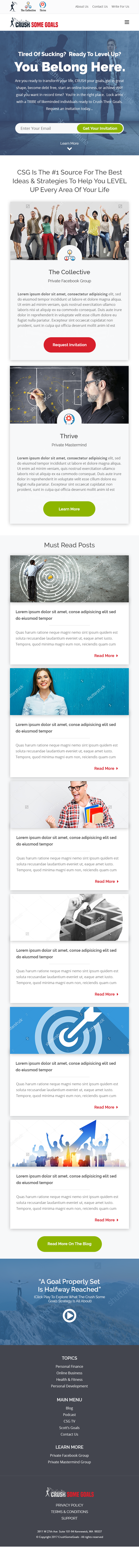 Landing page, home page design