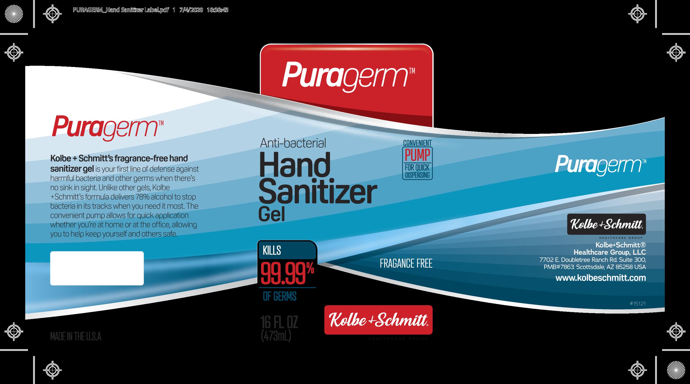 KOLBE + SCHMITT Hand Sanitizer Gel Package