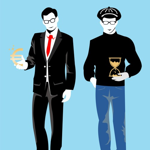 Illustration of two guys representing high income and time for non-fiction book