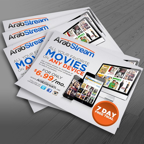 Create an eye catching postcard for media streaming service