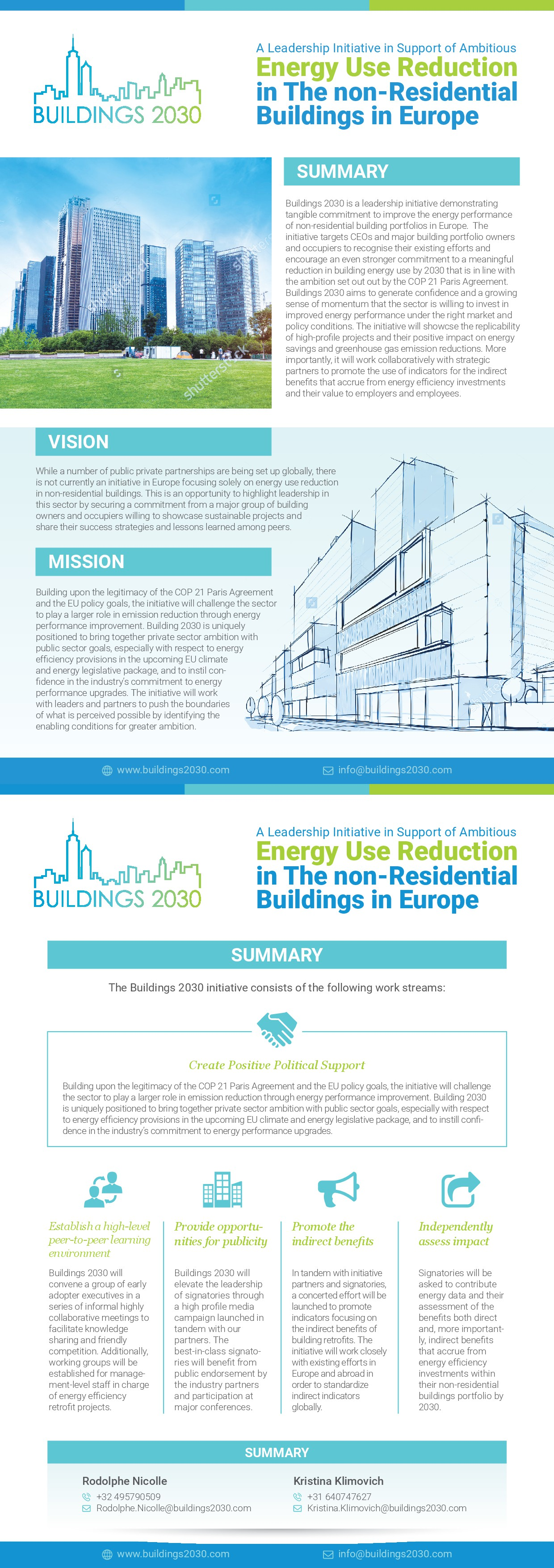 Design a 2-page flyer for a new leadership initiative - Buildings 2030