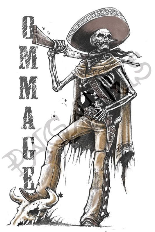 Mexican Cowboy Skeleton digital artwork required for tshirt print
