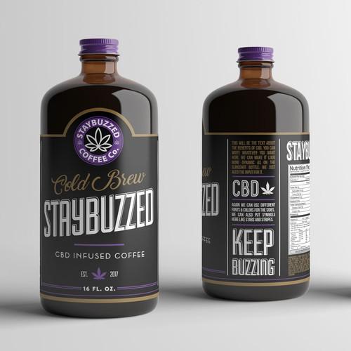 CBD infused coffee label design