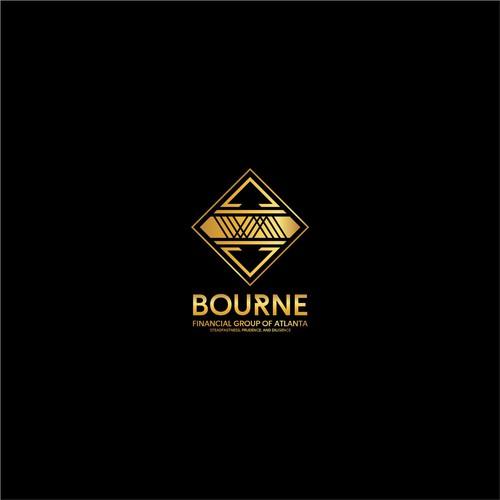 modern logo for bourne financial group