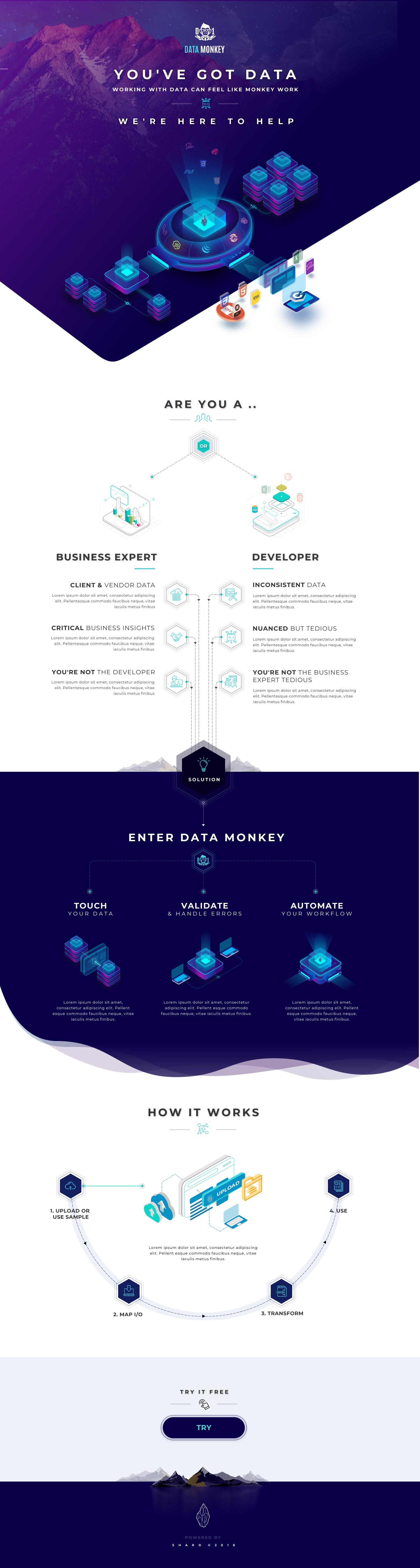 Design badass landing page for enterprise-scale data transformation platform