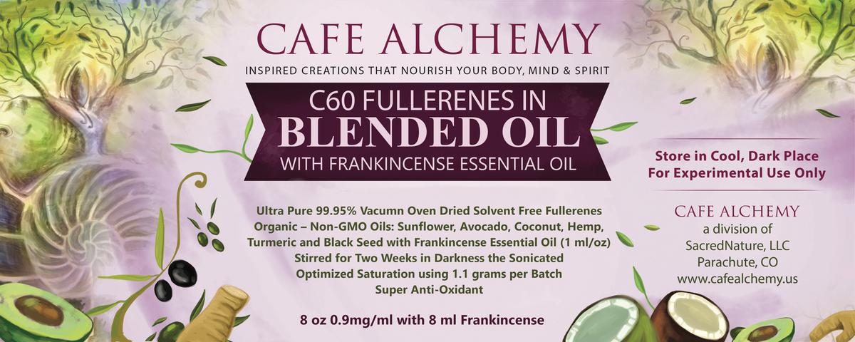 Cafe Alchemy Bottle Label Revision on Blended Oil Label