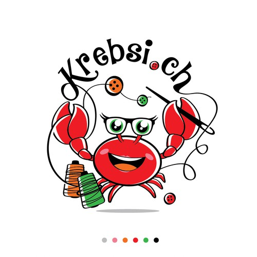 The fun crab mascot for a children's clothing logo