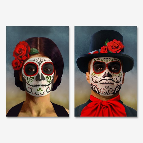 Portrait art of Day of the Dead for a hotel