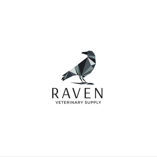 Geometric logo concept for RAVEN, an orthopedic veterinary supply for small and large animals