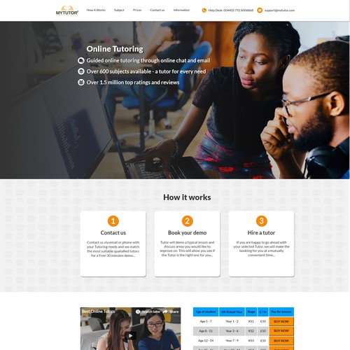 Landing page for a Online Tutoring company.
