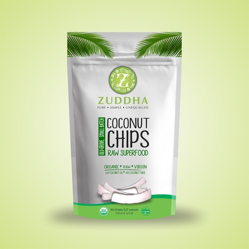 Create packaging for our Zuddha brand organic coconut chips.