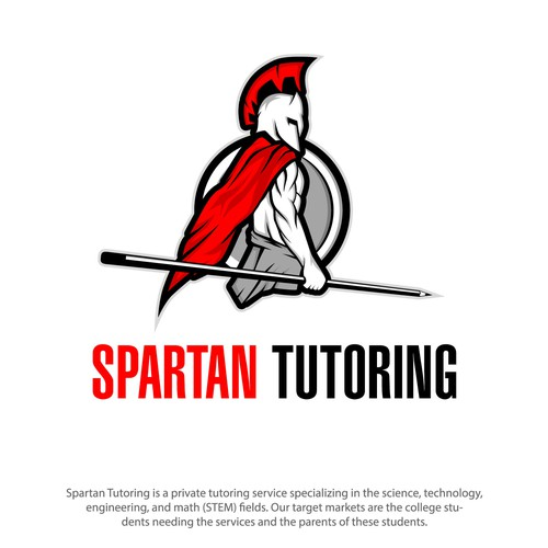 Spartan Tutoring ( A spartan holding a spear pencil )
