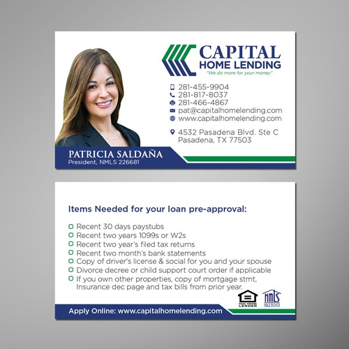 Business Card Design for CAPITAL HOME LENDING