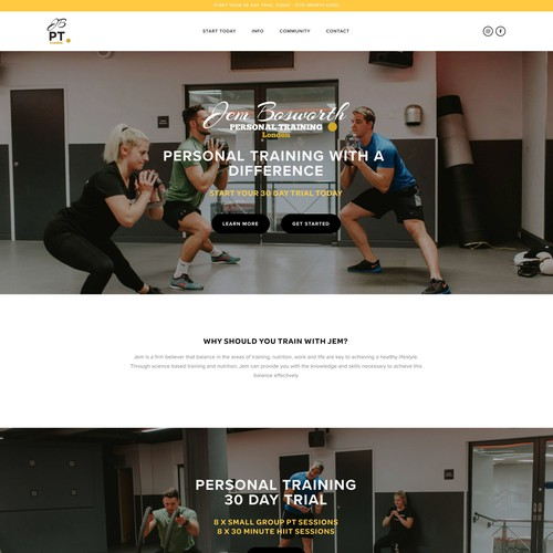Jem Bosworth Personal Trainer Website