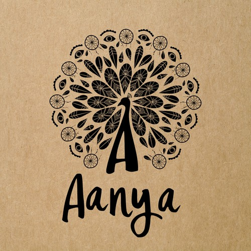 Logo and business card for AANYA - bohemian-chic apparel and accessories store