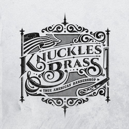 Create head turning logo/illustration for Knuckles and (&) Brass