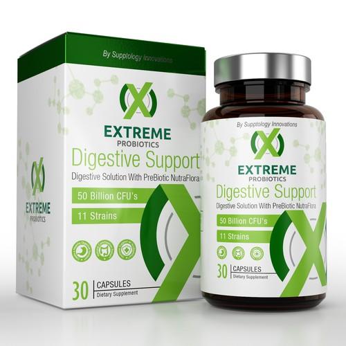 extreme probiotic dietary supplement label design
