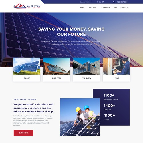 Home page for Solar Panel Provider