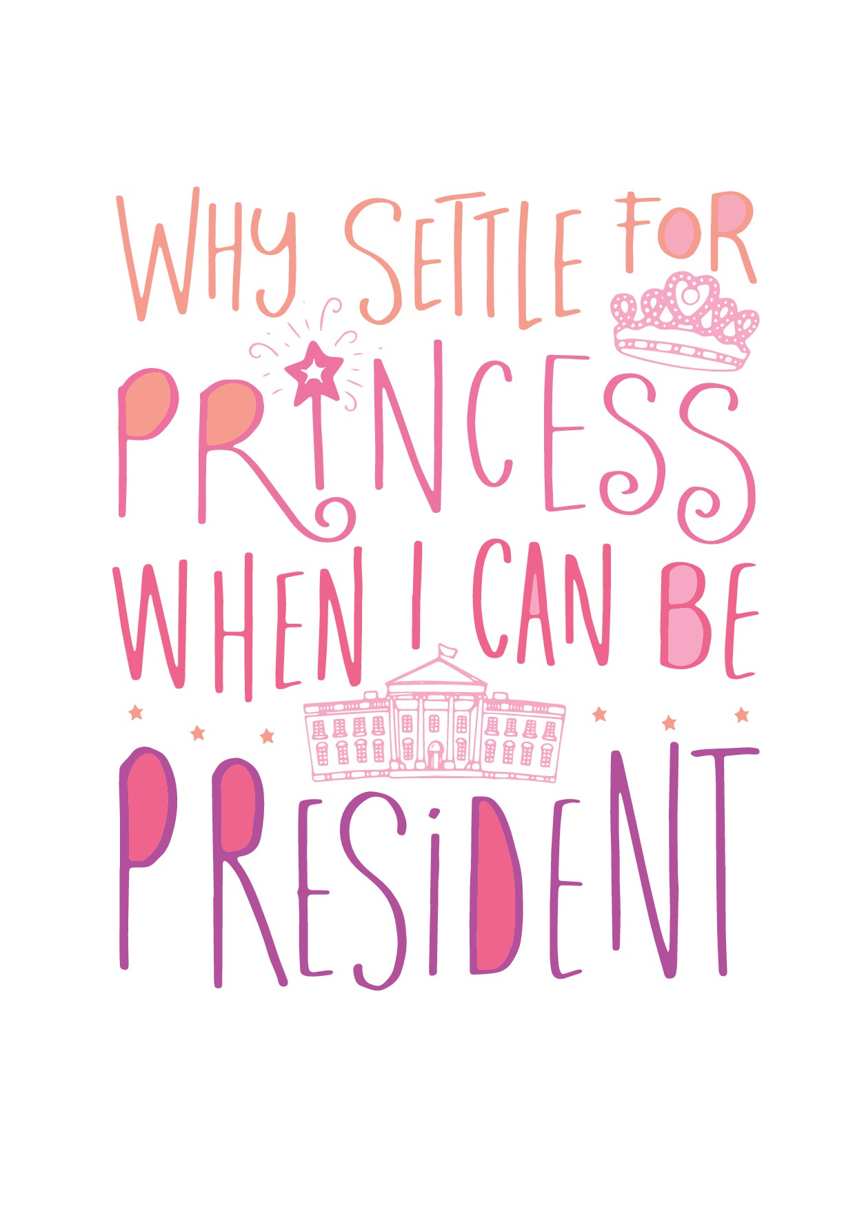 Graphic needed for Little Girls' T-Shirt: Why settle for princess when I can be president?