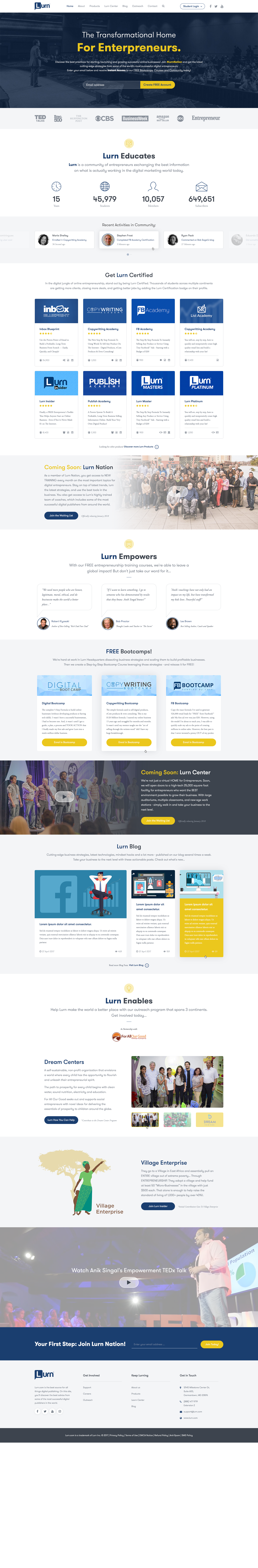 Big Payout! New Home Page/Brand Site For Entrepreneur Training Company