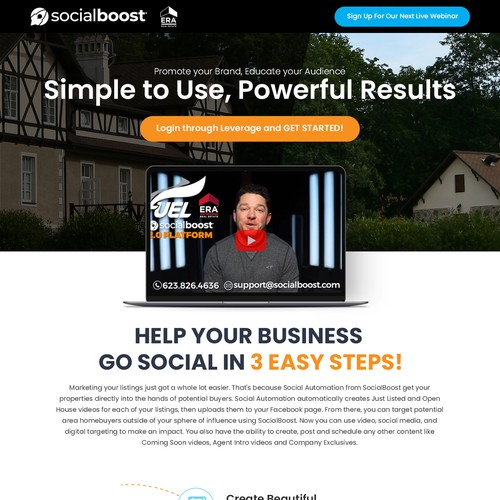 EASY Landing Page for SOCIALBOOST - A Video & Social Company - Outline Provided