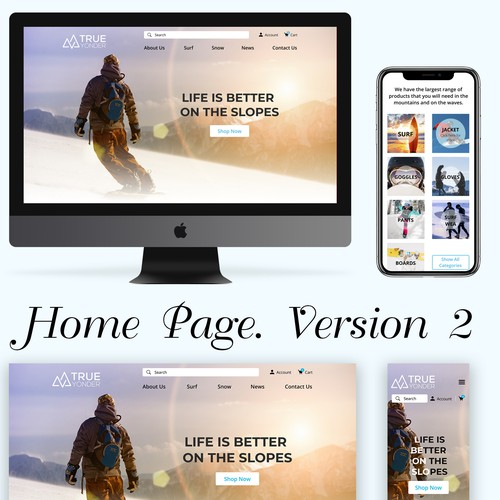 Design for an online store of snowboards and surf