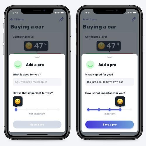 Fun pro-con app design