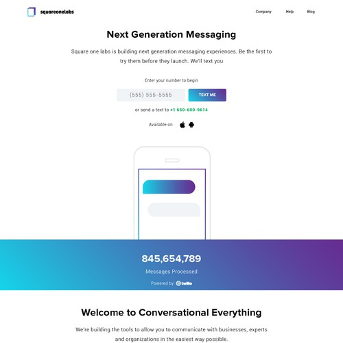 Landing Page for SQUAREONELABS.